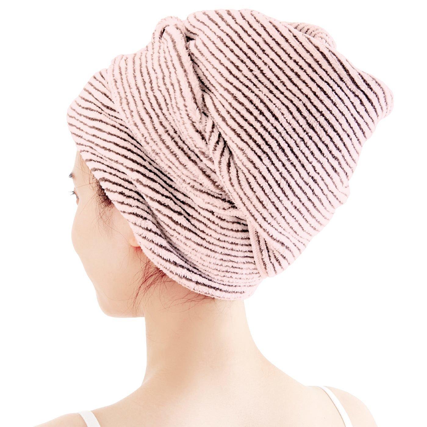 長い髪もしっかりまとめて吸水速乾 竹炭混の細幅バスタオル〈ピンク〉の会