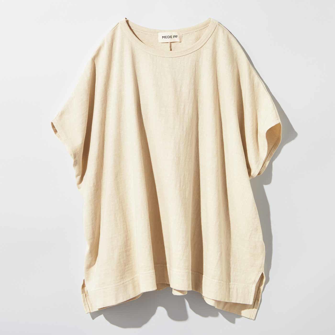 MEDE19F 製品染めポンチョTシャツ〈ライトベージュ〉