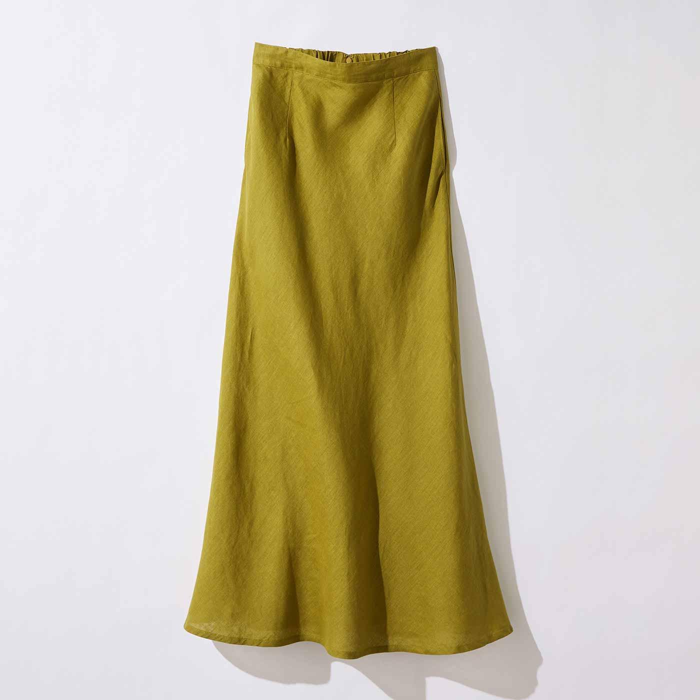 リネンロングスカート〈カラシ〉MD19