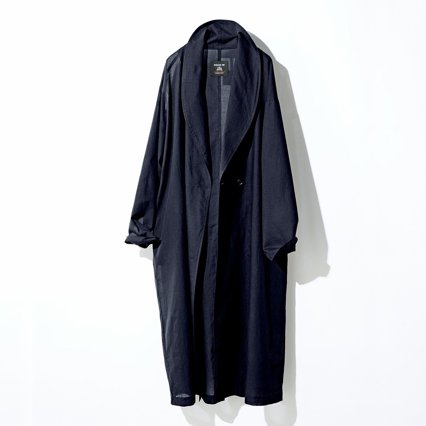 MEDE19F ジャパンファブリックを使用した ショールカラーコート〈ブラック〉