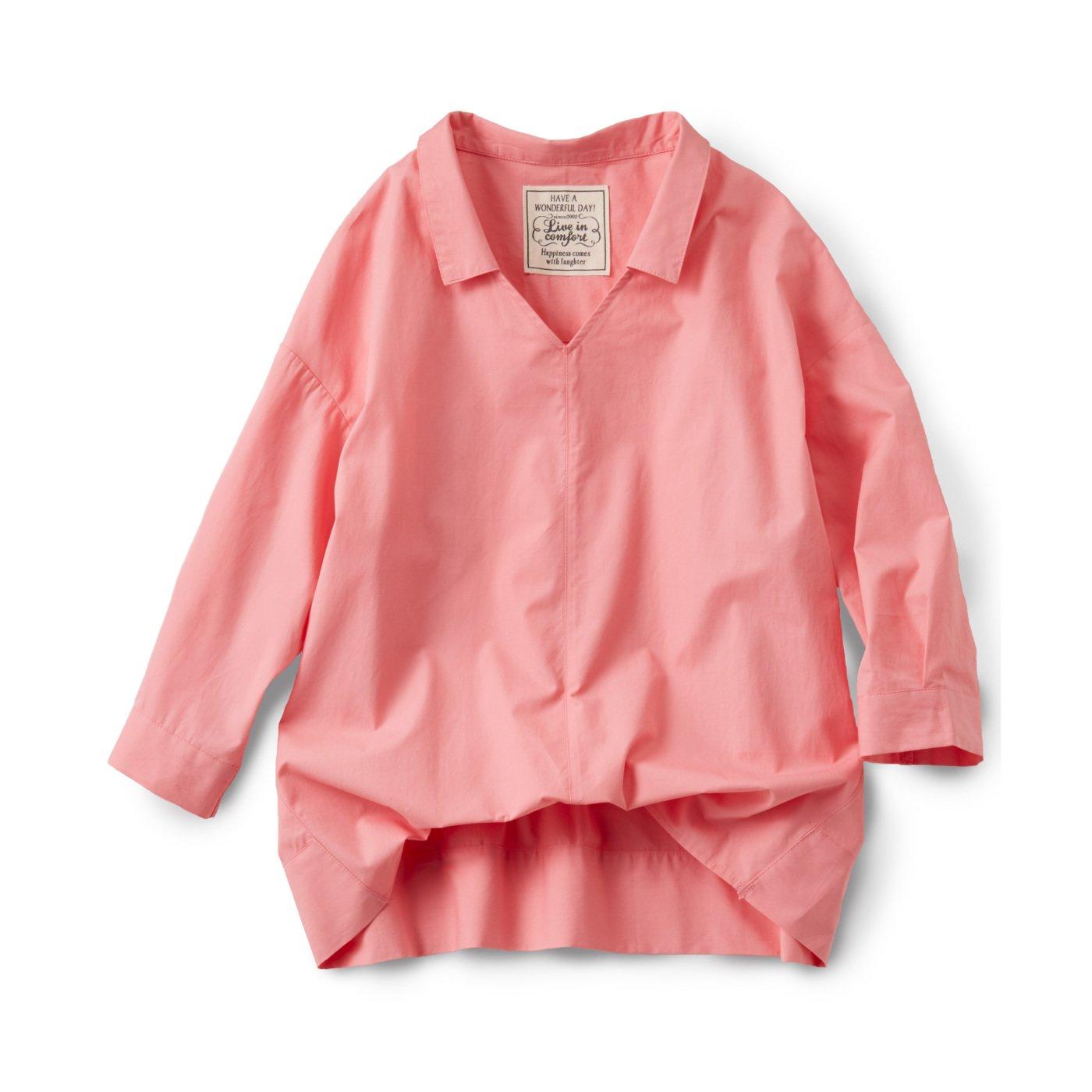 リブ イン コンフォート ゆるシルエットできゃしゃ見せ フロントインしているみたいなこなれスキッパー風プルオーバーシャツ〈ピンク〉