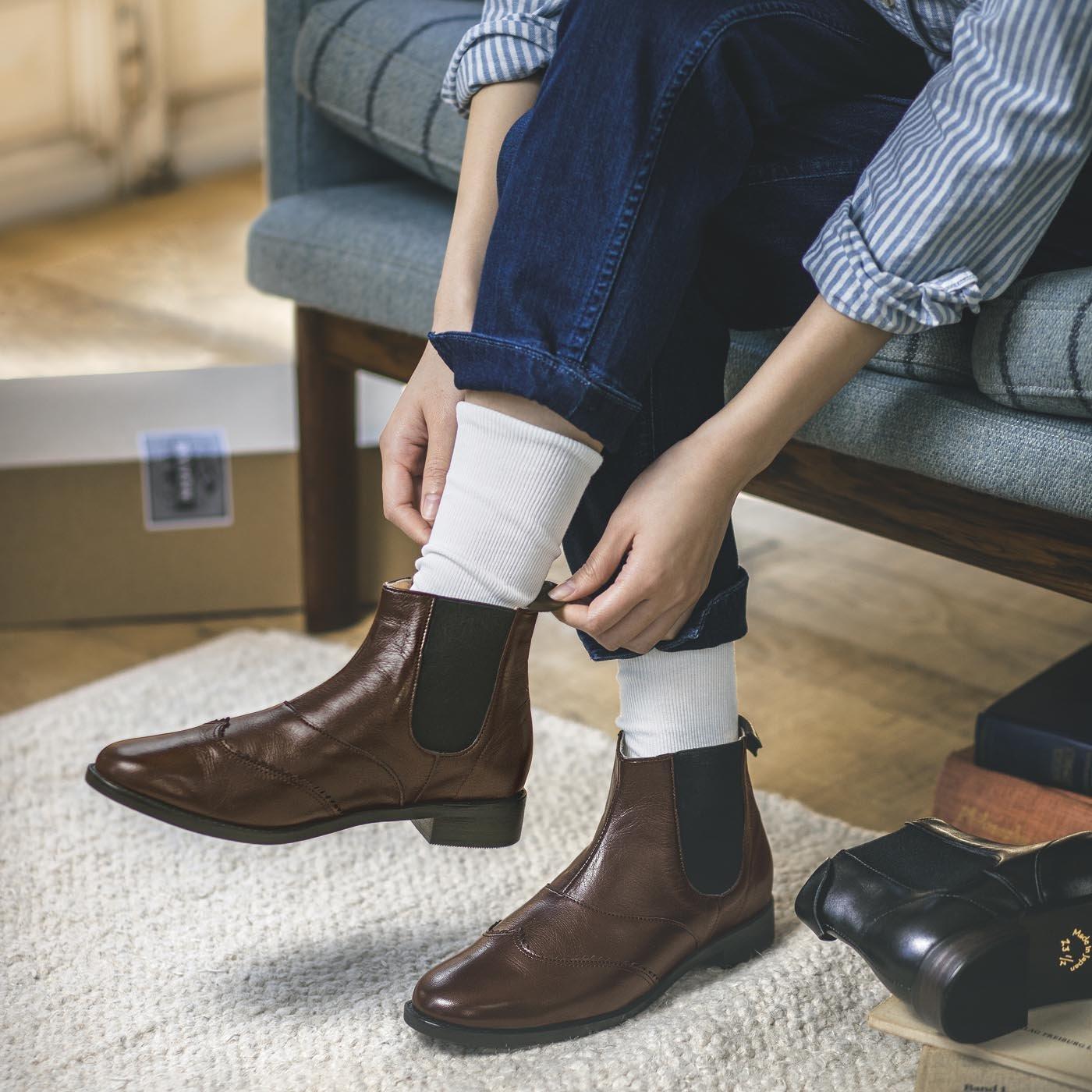 長田靴職人の本革仕立て 凛々しいサイドゴア レザーブーツ〈ブラウン〉[本革 ブーツ:日本製]
