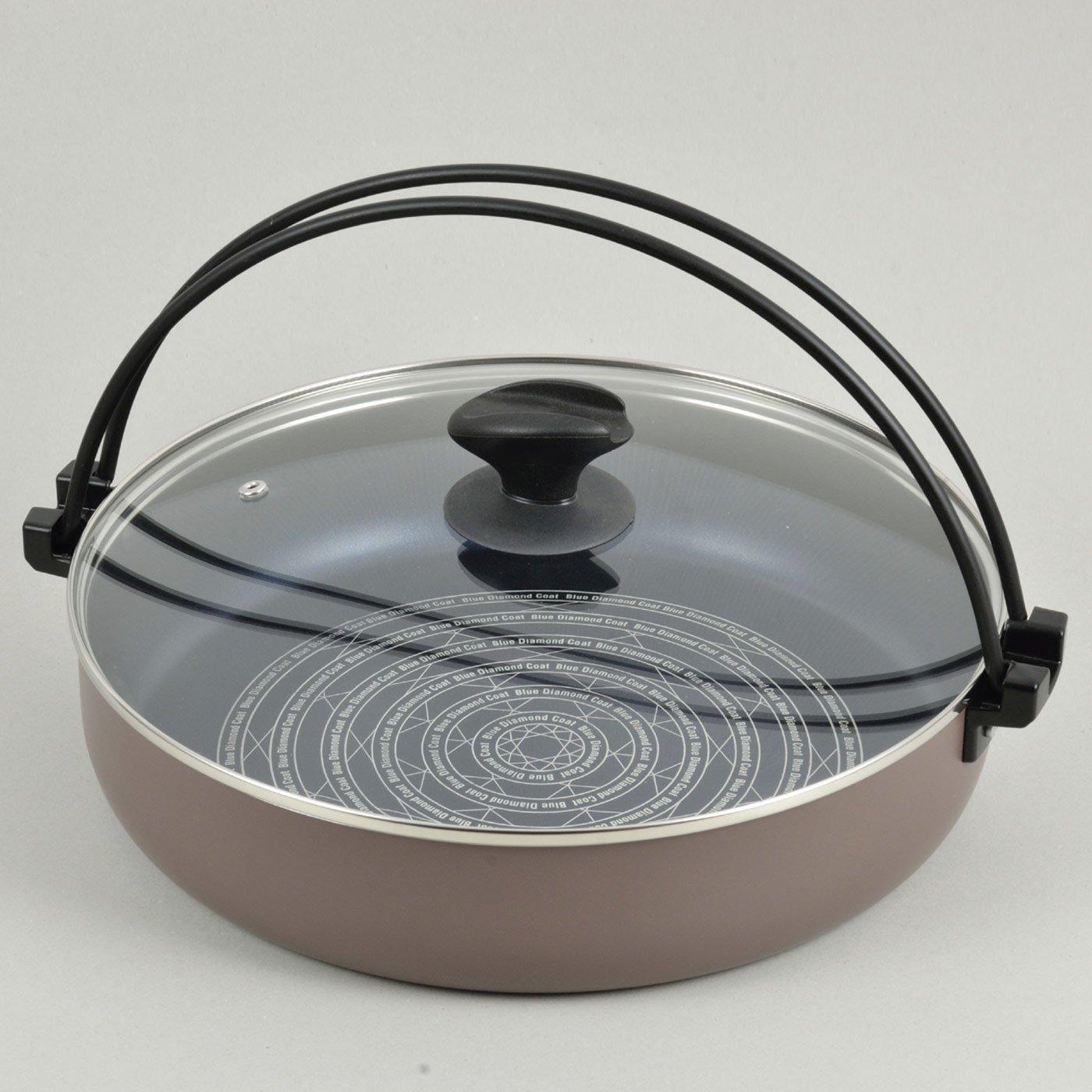 ガス火でもIHでも使える ガラスぶたのすきやき鍋〈30cm〉