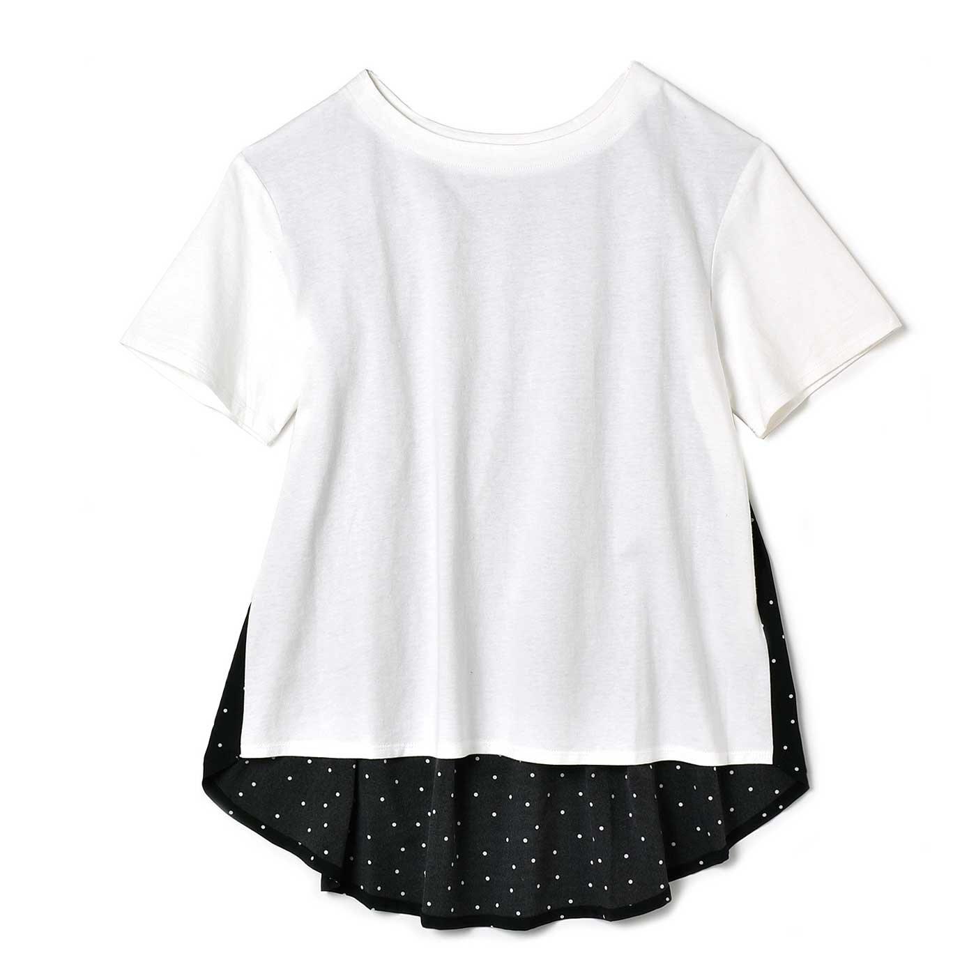 リブ イン コンフォート 後ろ姿すっきり美人のブラウス感覚で着られるTトップス〈ホワイト×ブラック〉