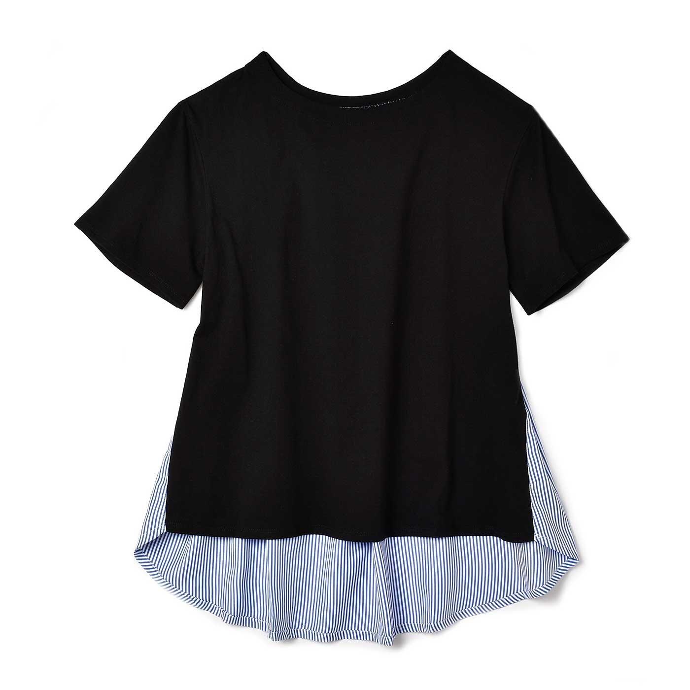 リブ イン コンフォート 後ろ姿すっきり美人のブラウス感覚で着られるTトップス〈ブラック×ブルー〉