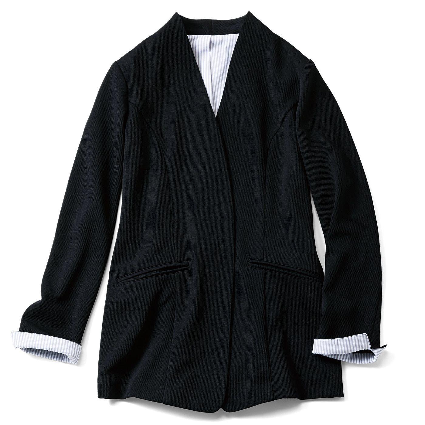 フェリシモ IEDIT[イディット] 吸汗速乾&マシンウォッシャブルがうれしい バレエフィット(R)ジャケット〈ブラック〉