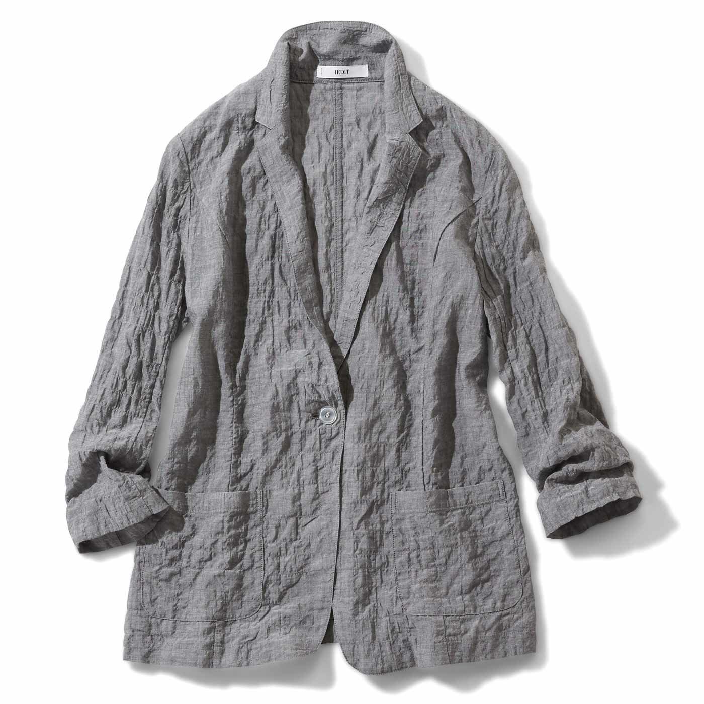 IEDIT シャツ感覚のエアリーなジャケット〈グレー〉