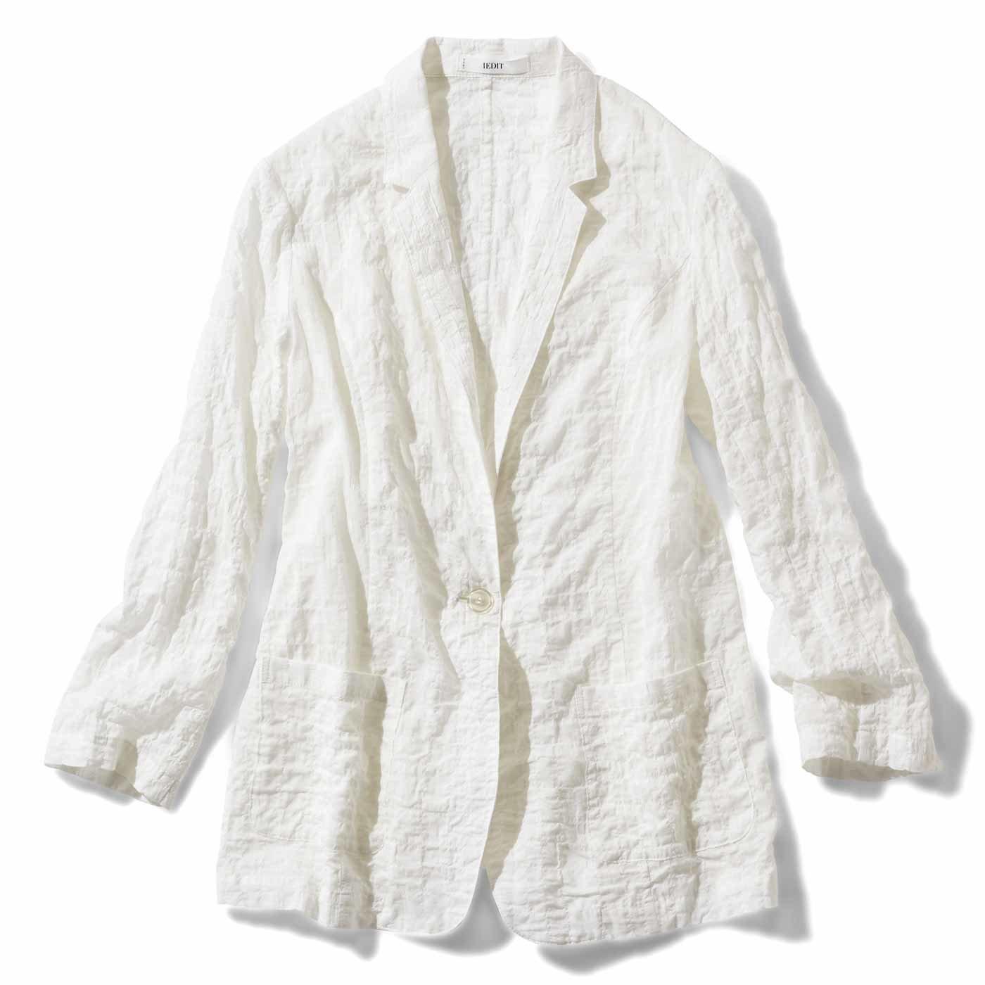 IEDIT シャツ感覚のエアリーなジャケット〈ホワイト〉