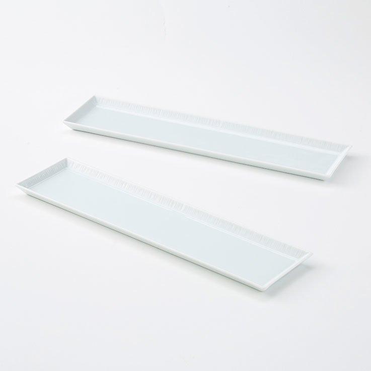 波佐見焼 テーブルにリズムが生まれる長方形プレート2枚セット