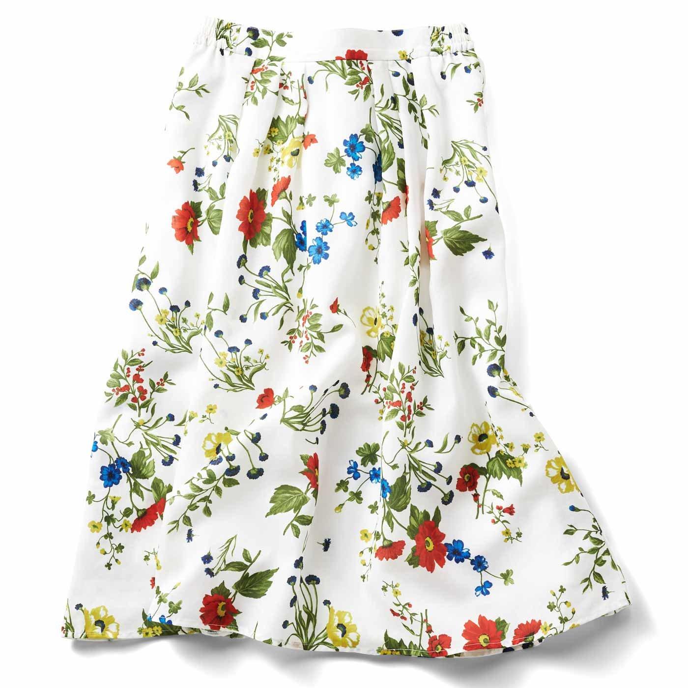 IEDIT パっと着映える花柄フレアースカート〈ホワイト〉