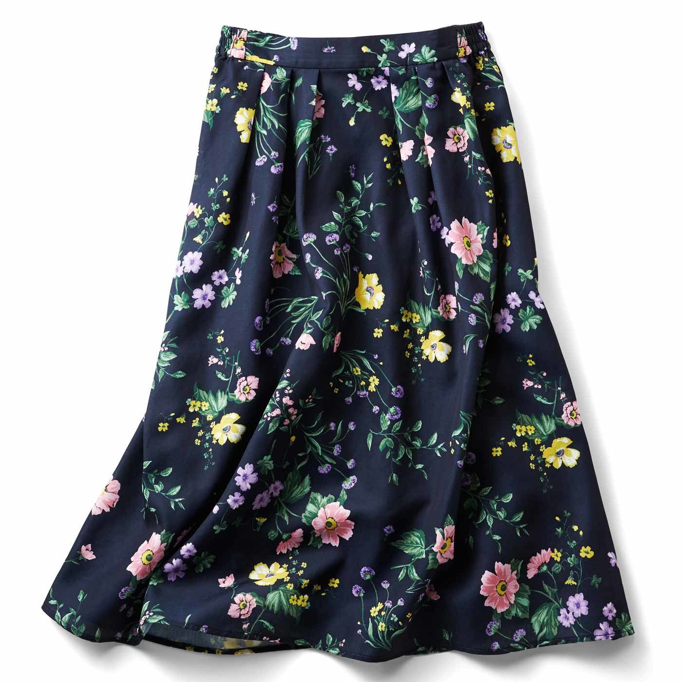 IEDIT パっと着映える花柄フレアースカート〈ネイビー〉