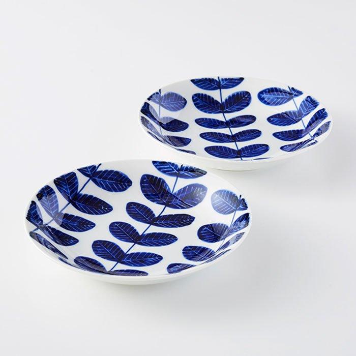 波佐見焼 aoba 手描き丸皿2枚セット