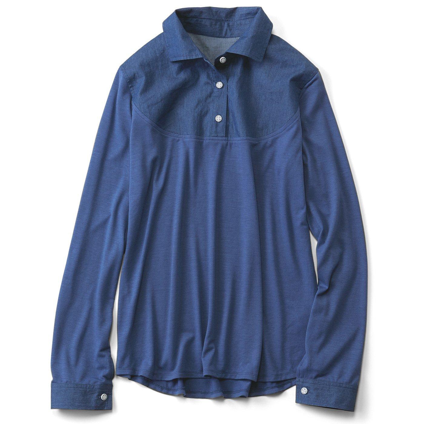 リブ イン コンフォート 重ね着のために作られた 衿もととカフスだけ 布はくのカットソーインナー〈ダンガリー〉