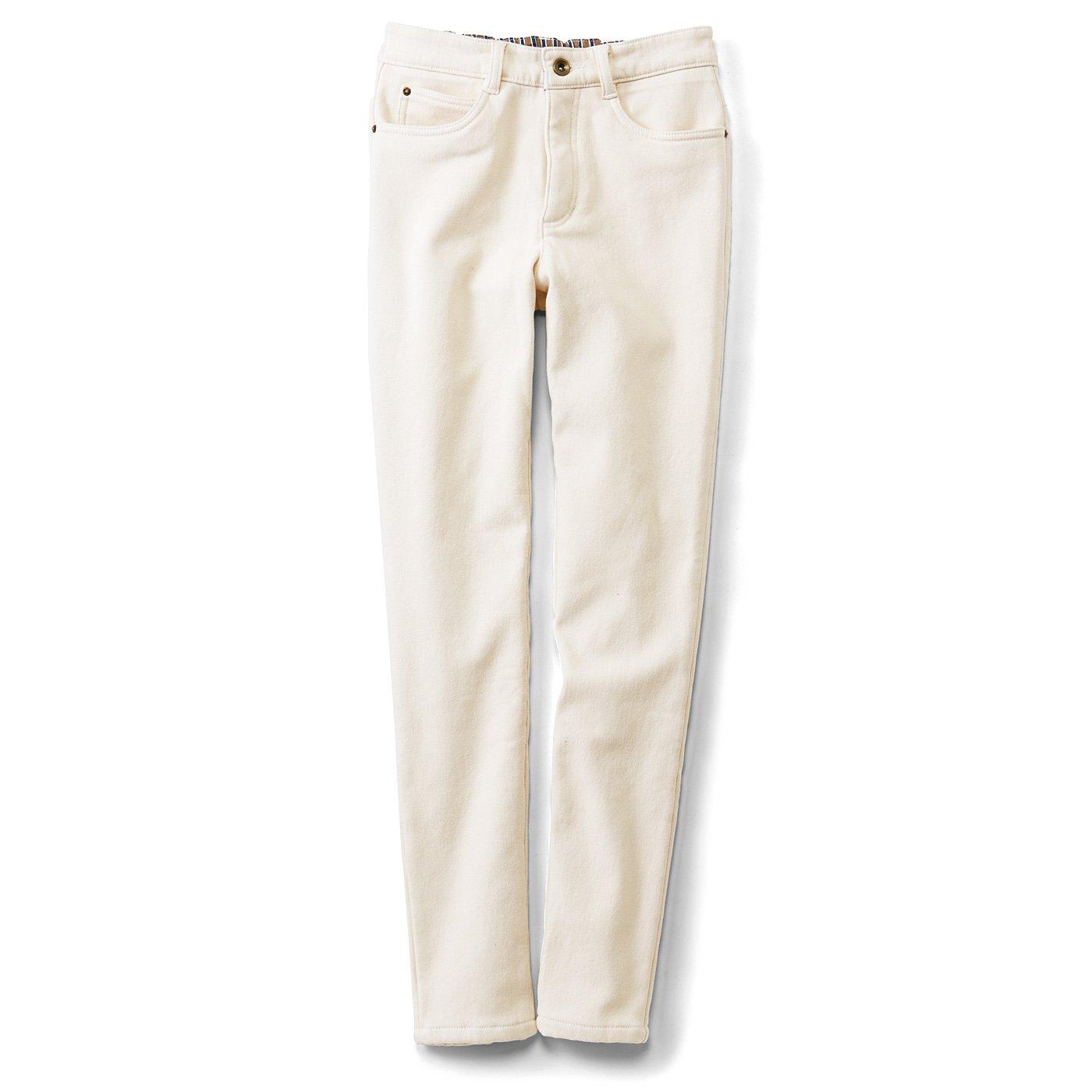 リブ イン コンフォート 美脚もあったかもかなえる うっとり肌心地の裏ベロアストレートパンツ〈ホワイト〉