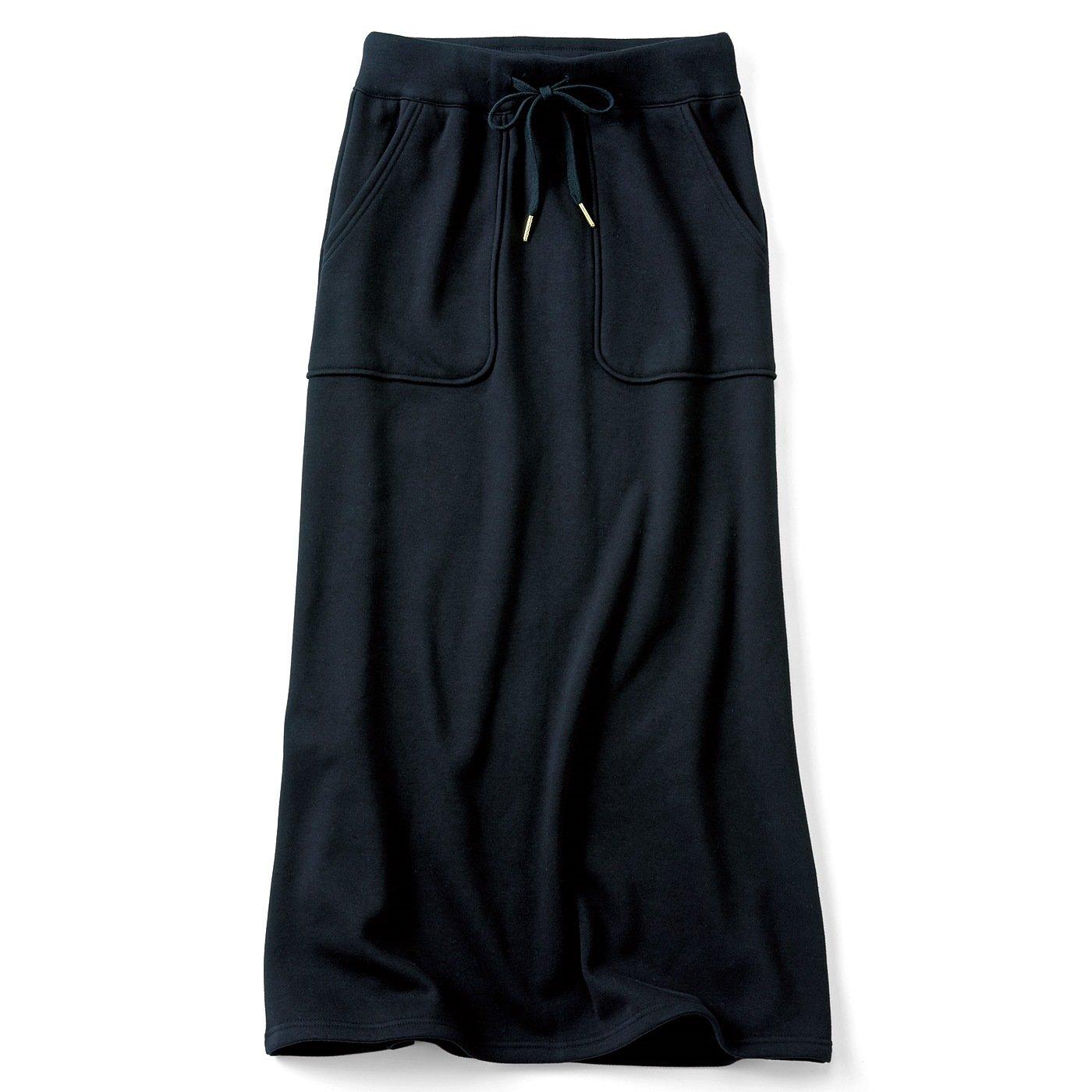 リブ イン コンフォート すっきり見えシルエットなのに伸びやか 裏シャギーの激ぬくロングスカート〈ブラック〉