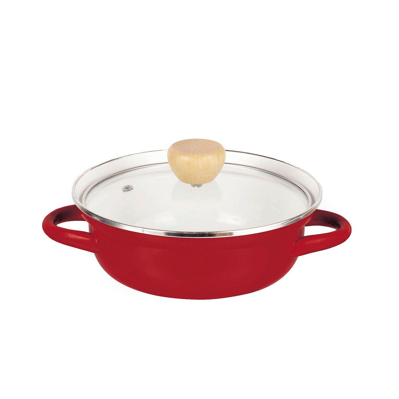 赤色が食卓を彩る ガス火でもIHでも使えるホーロー卓上鍋〈20cm〉