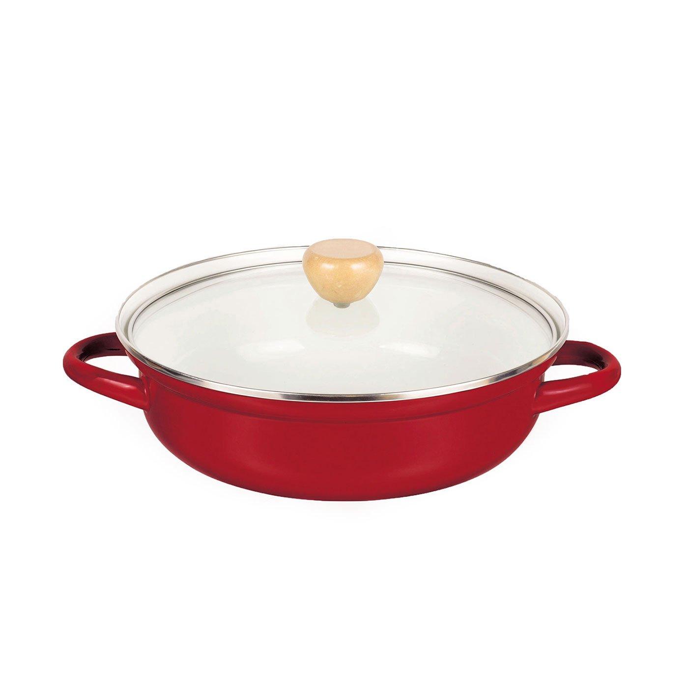 赤色が食卓を彩る ガス火でもIHでも使えるホーロー卓上鍋〈24cm〉