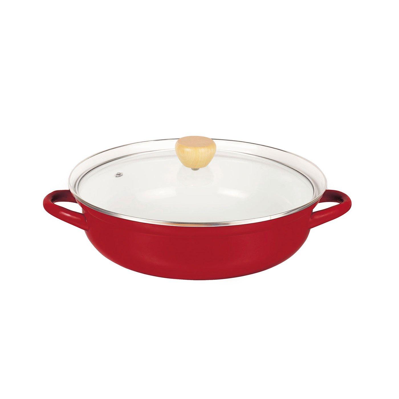 赤色が食卓を彩る ガス火でもIHでも使えるホーロー卓上鍋〈27cm〉