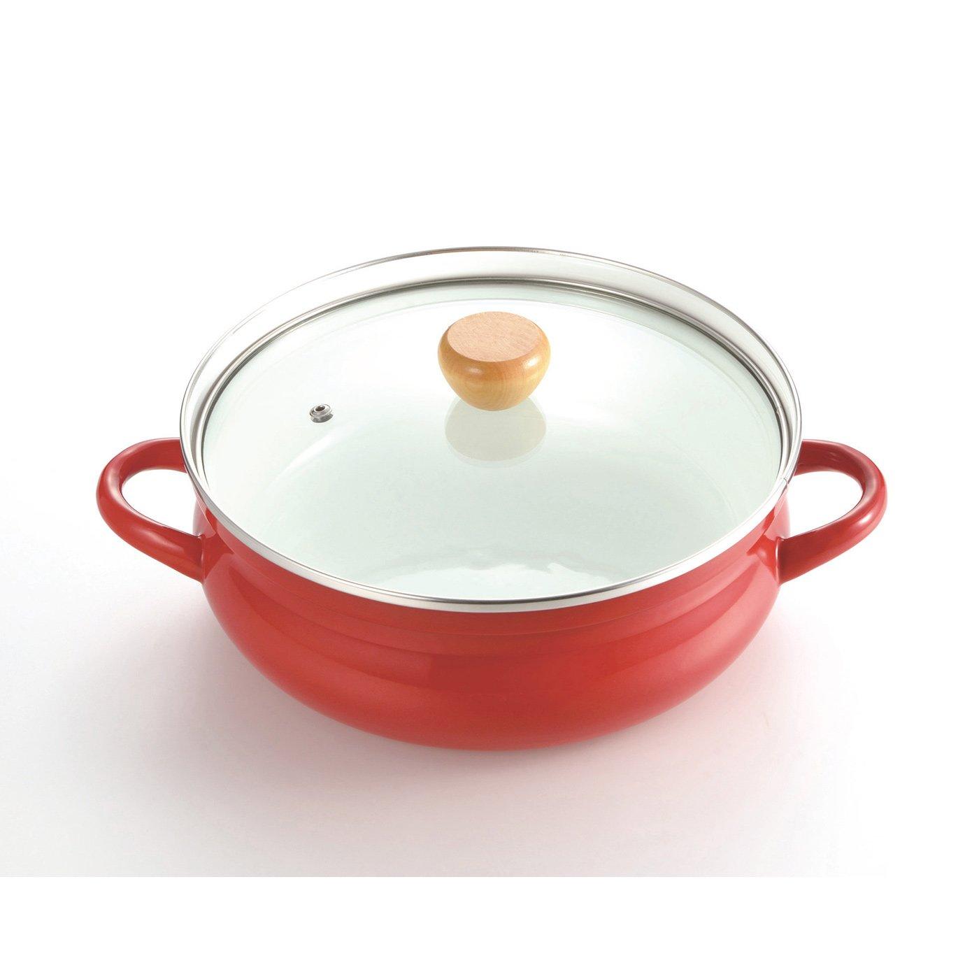 赤色が食卓を彩る ガス火でもIHでも使えるホーローよせしゃぶ鍋〈26cm〉