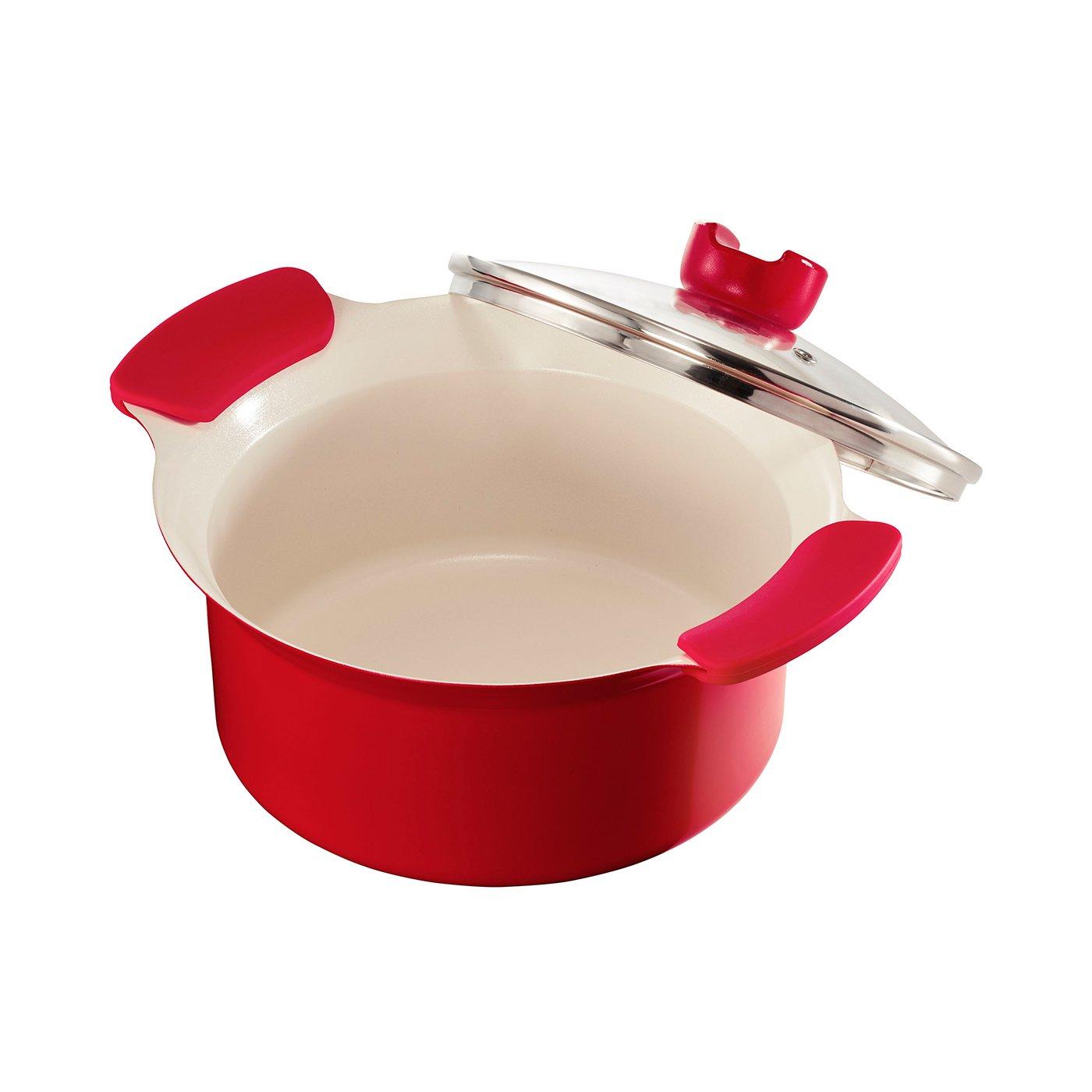 吹きこぼれにくい鍋ふち安心設計 ガス火でもIHでも使える赤色両手鍋〈20cm〉