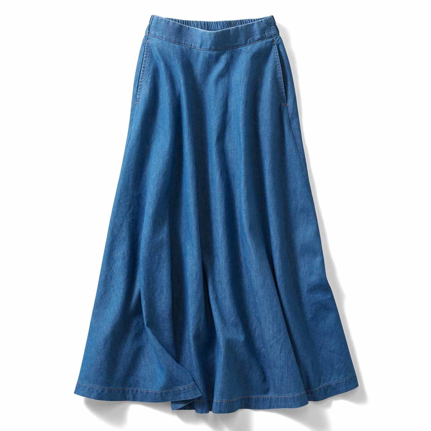 IEDIT コットンリネンデニムのマキシ丈スカート〈ライトブルー〉
