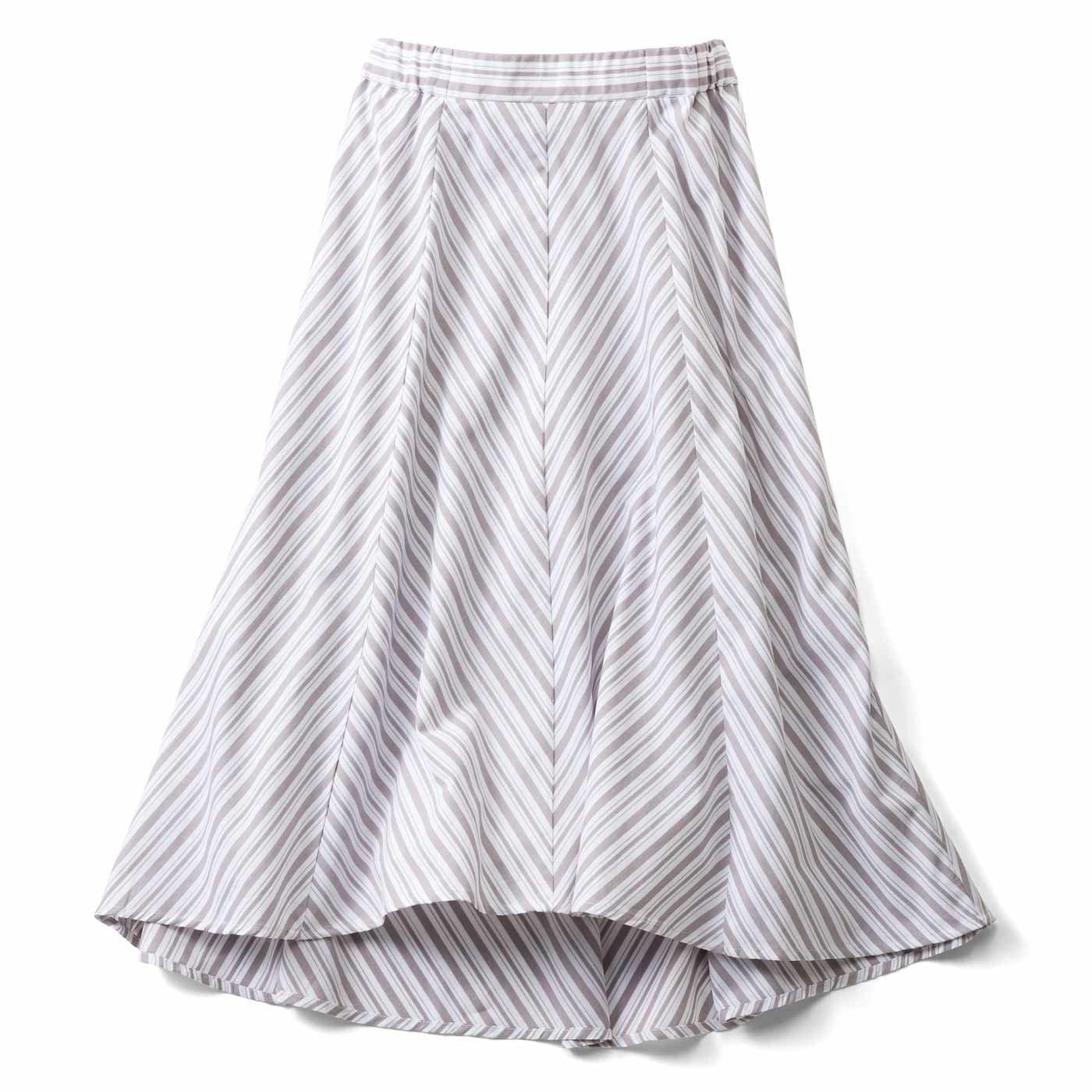 IEDIT[イディット] ストライプ切り替えのフィッシュテールスカート〈グレー〉