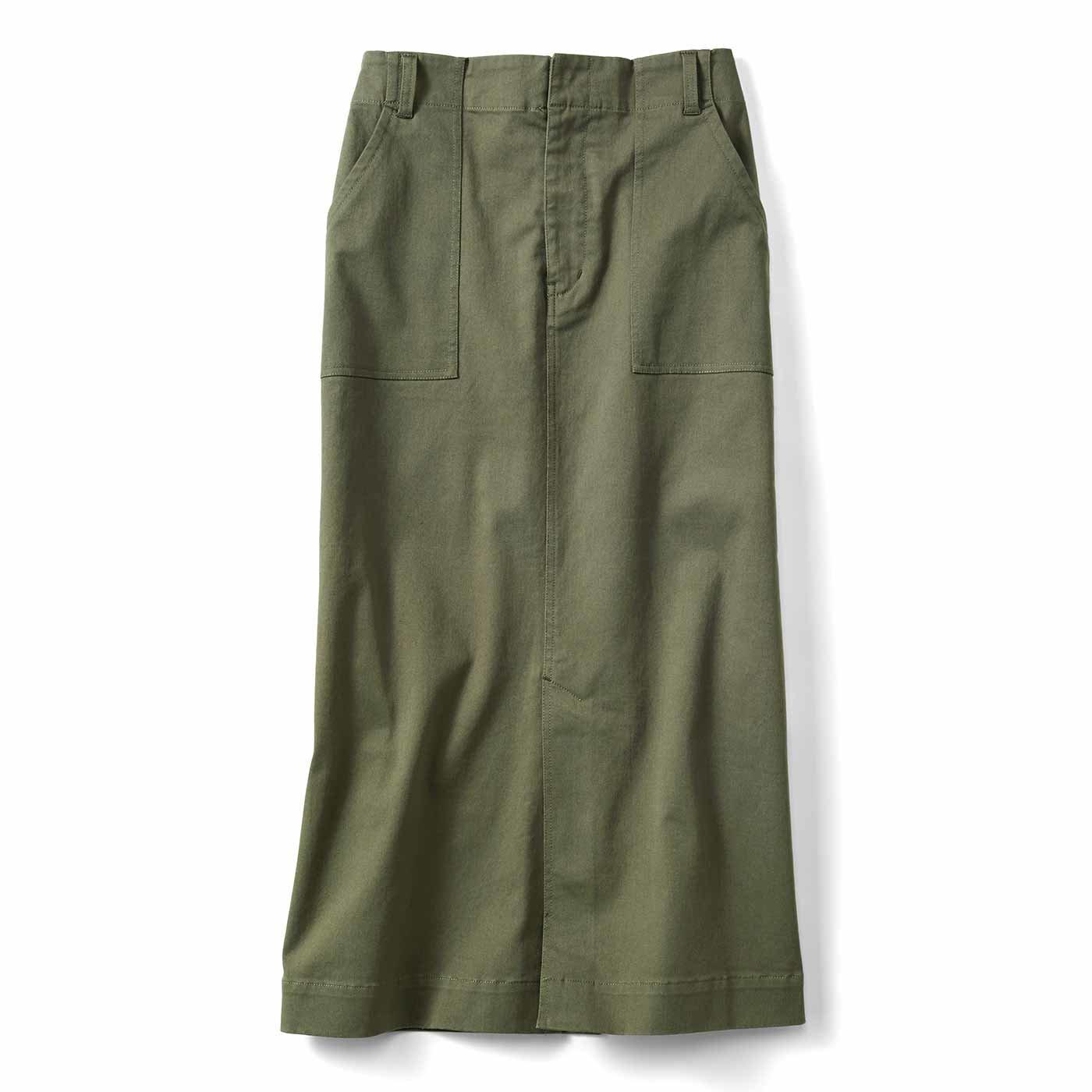 IEDIT らくちんストレッチ素材のロングタイトスカート〈カーキ〉