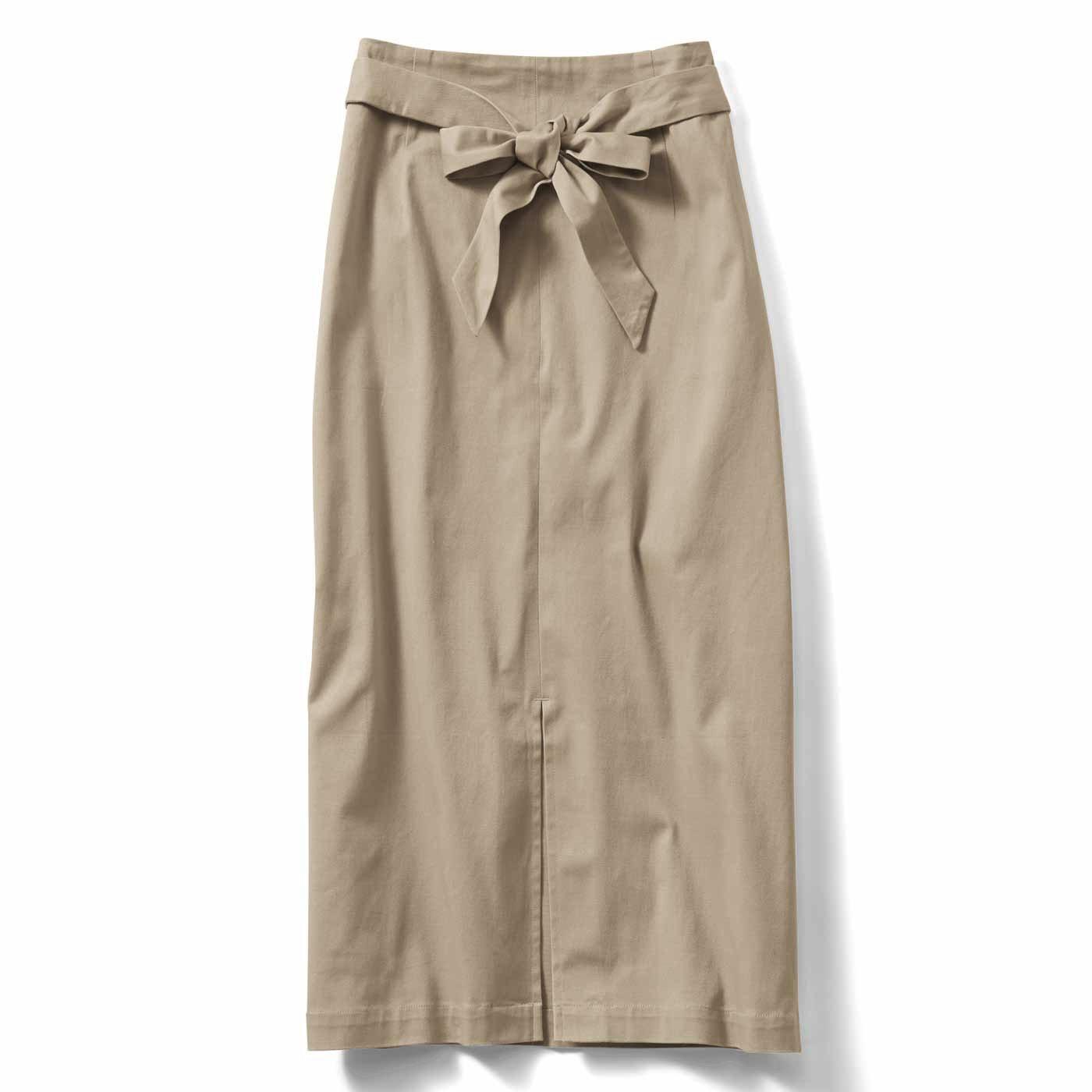 IEDIT ボクシーシルエットのセンタースリットスカート〈ベージュ〉