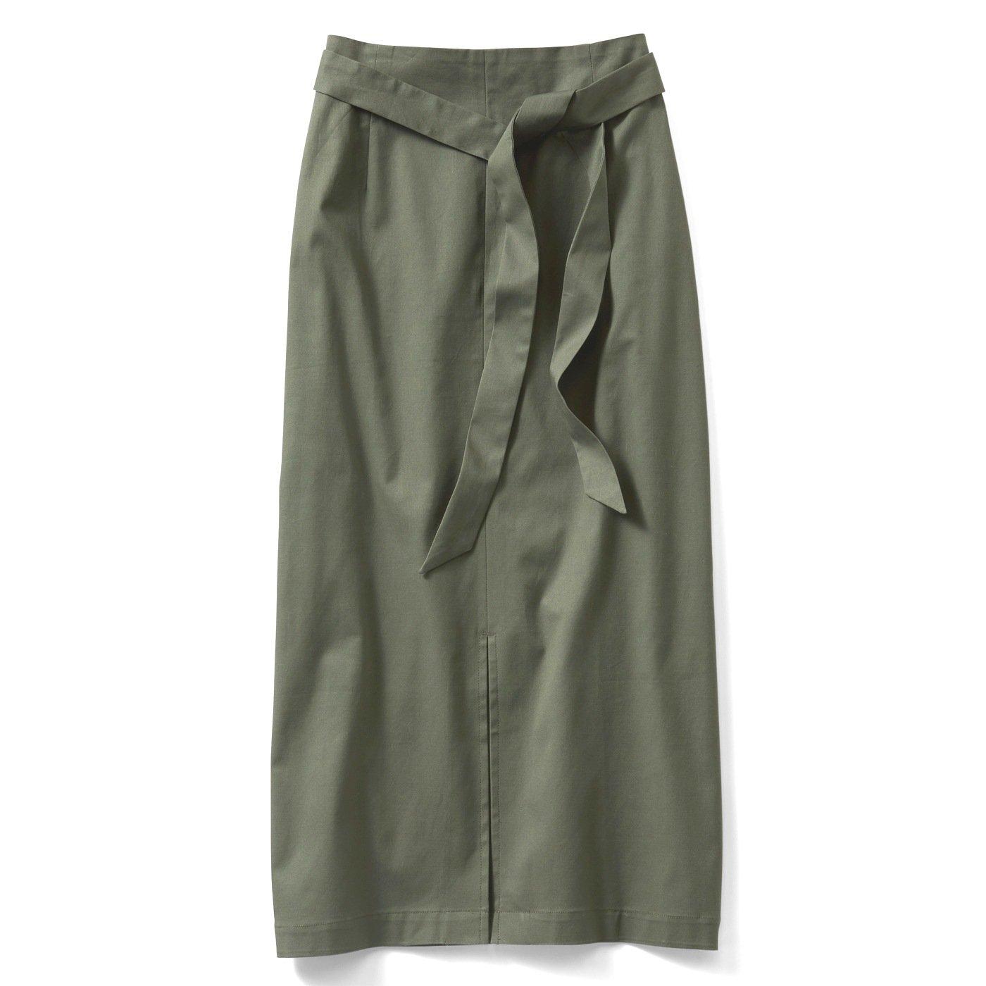 IEDIT ボクシーシルエットのセンタースリットスカート〈カーキ〉