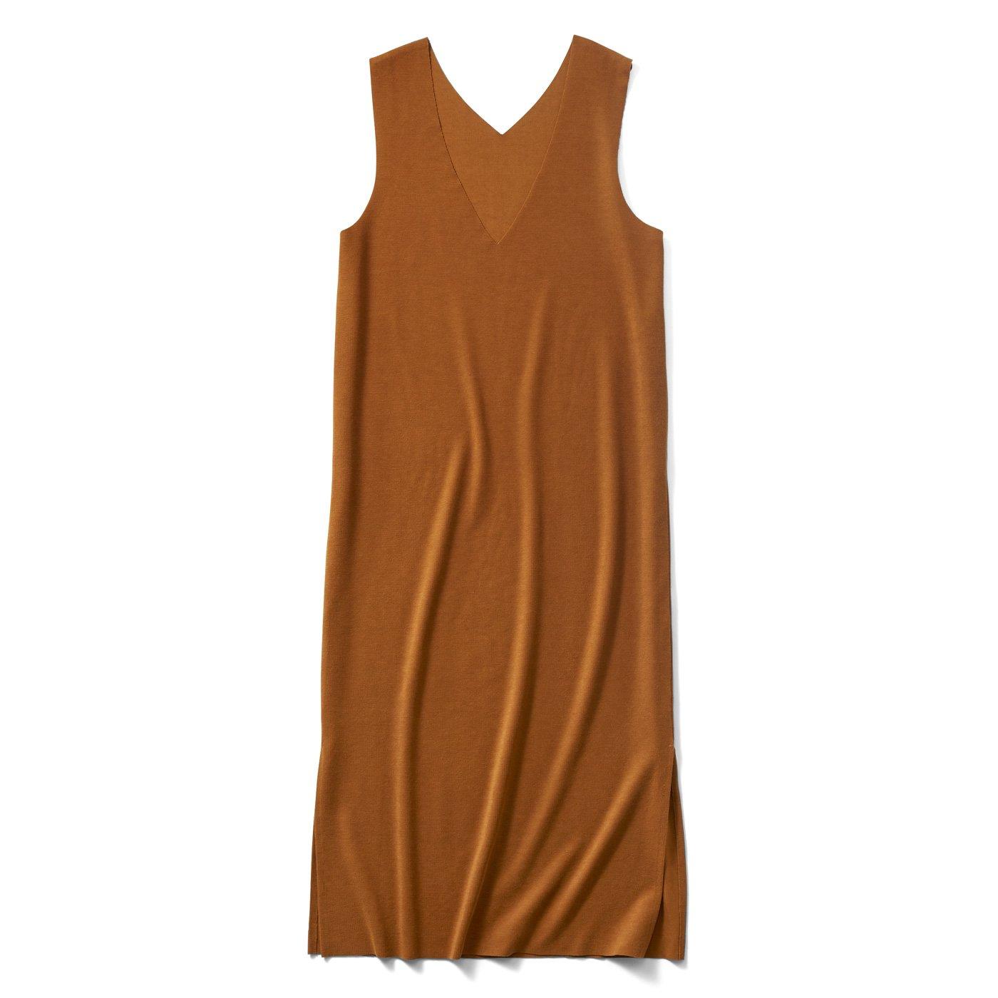IEDIT スマート見えする リップルカットソージャンパースカート〈キャメルブラウン〉