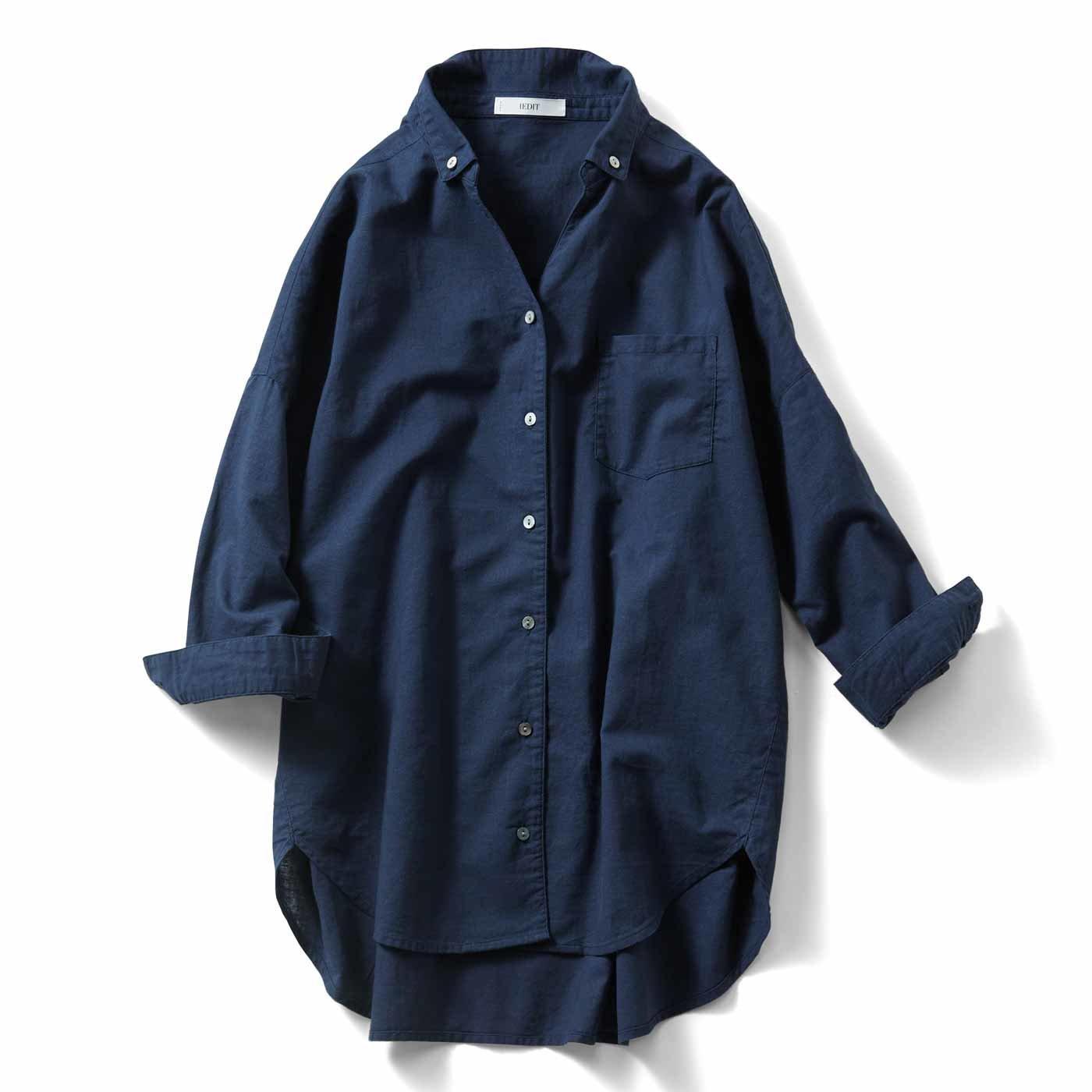 IEDIT 大人カジュアルを楽しむコットンリネンビッグシャツ〈ネイビー〉