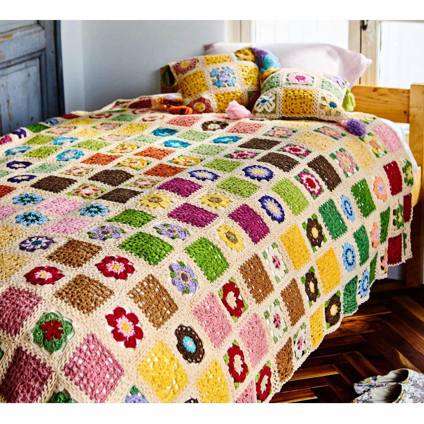 つないでアレンジ かぎ針編みお花モチーフの生成り毛糸玉セットの会