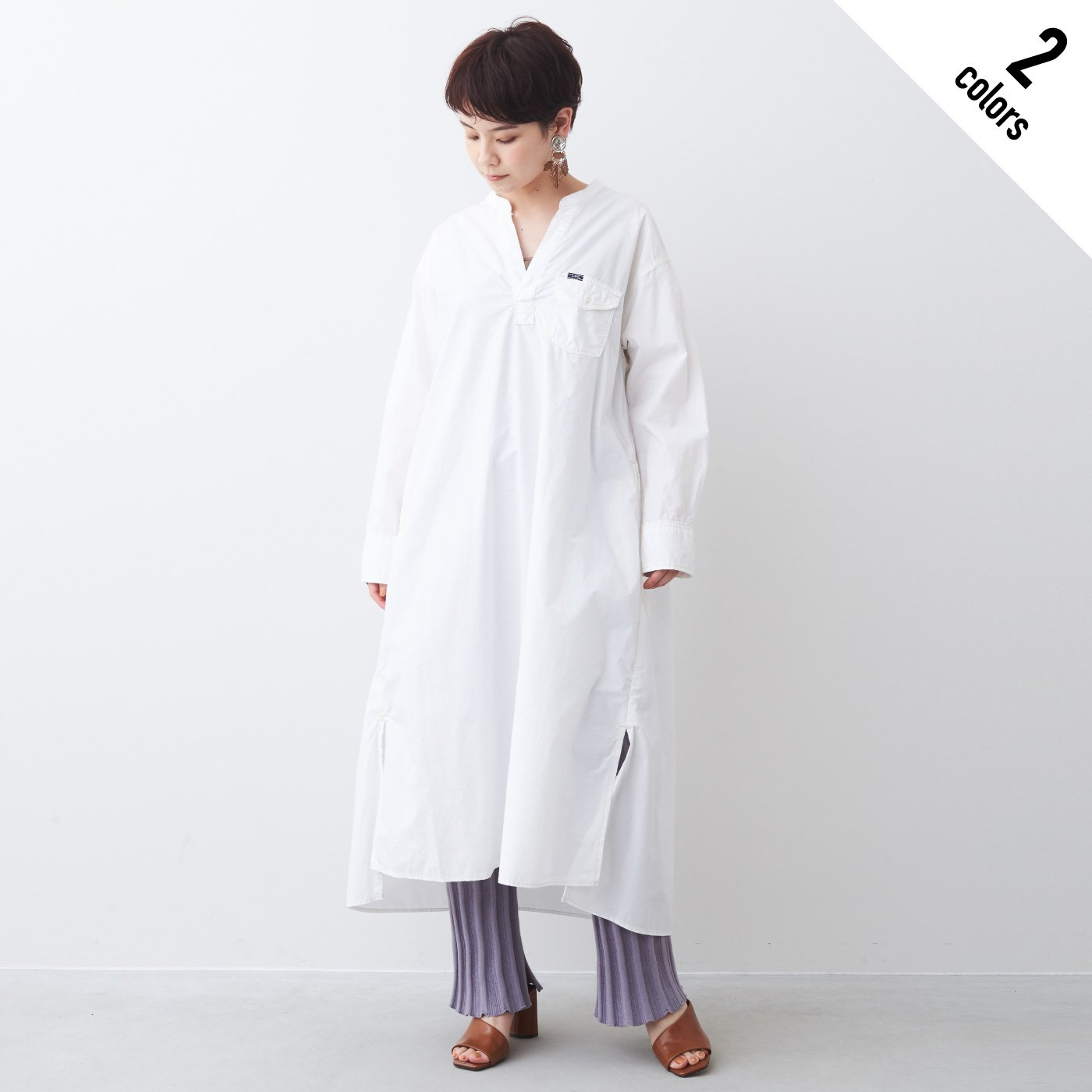 MEDE19F 〈SELECT〉 Lee スキッパーシャツドレス