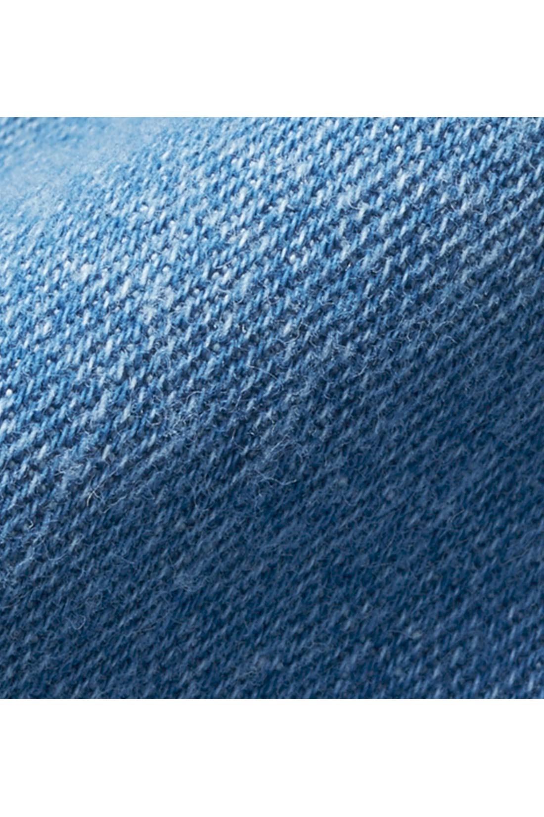 伸びやか&らくちん素材。 とても伸びやかでらくちんな着心地の軽やかな7.5オンスデニム素材。