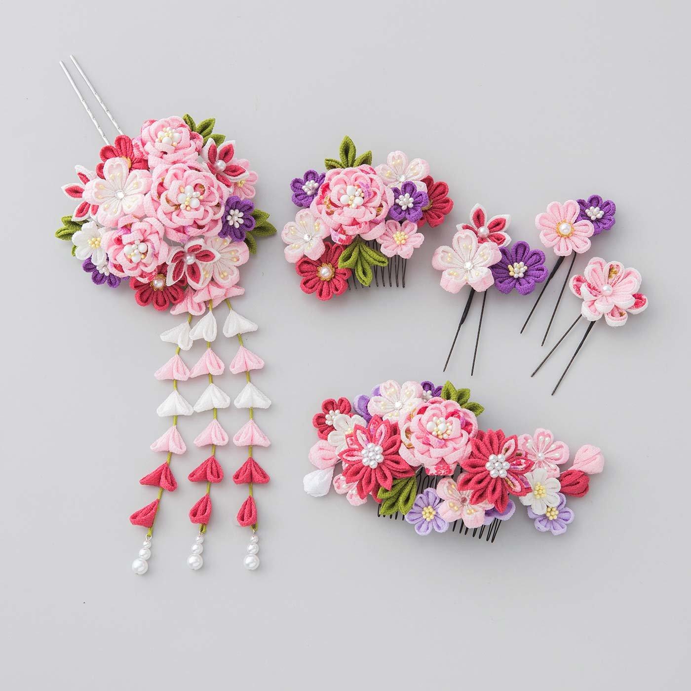 【WEB限定 3回分一括購入】晴れの日に華を添える つまみ細工の髪飾り〈桃色〉