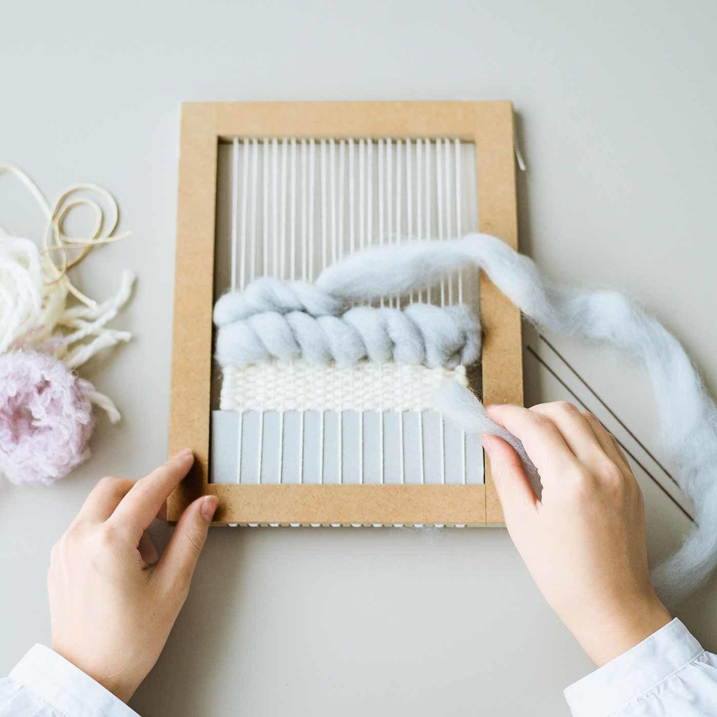 個性的な糸で手織りを楽しむ ウィービングフレームキットの会