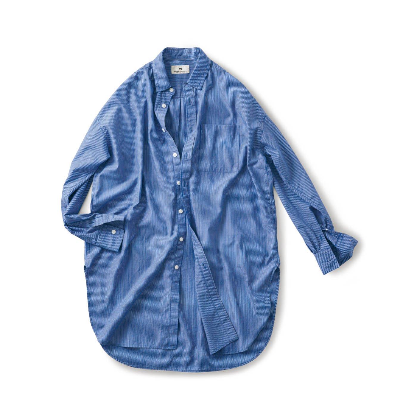 サニークラウズ  ストライプロングシャツ〈メンズ〉青