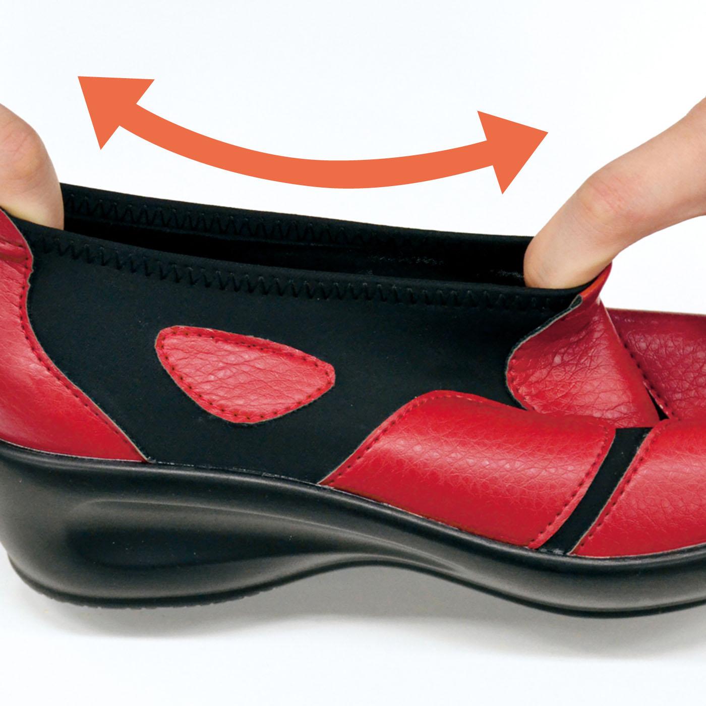 履き口が足首にぴったりフィット。脱げたり、カパカパしにくいので歩きやすい!