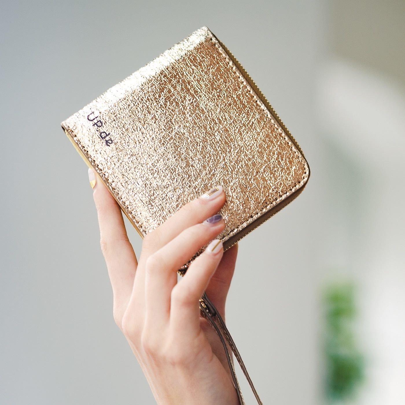 UP.de コンパクトなのにがばっとジャバラで一目瞭然 (りょうぜん)キラキラしあわせ二つ折り財布の会