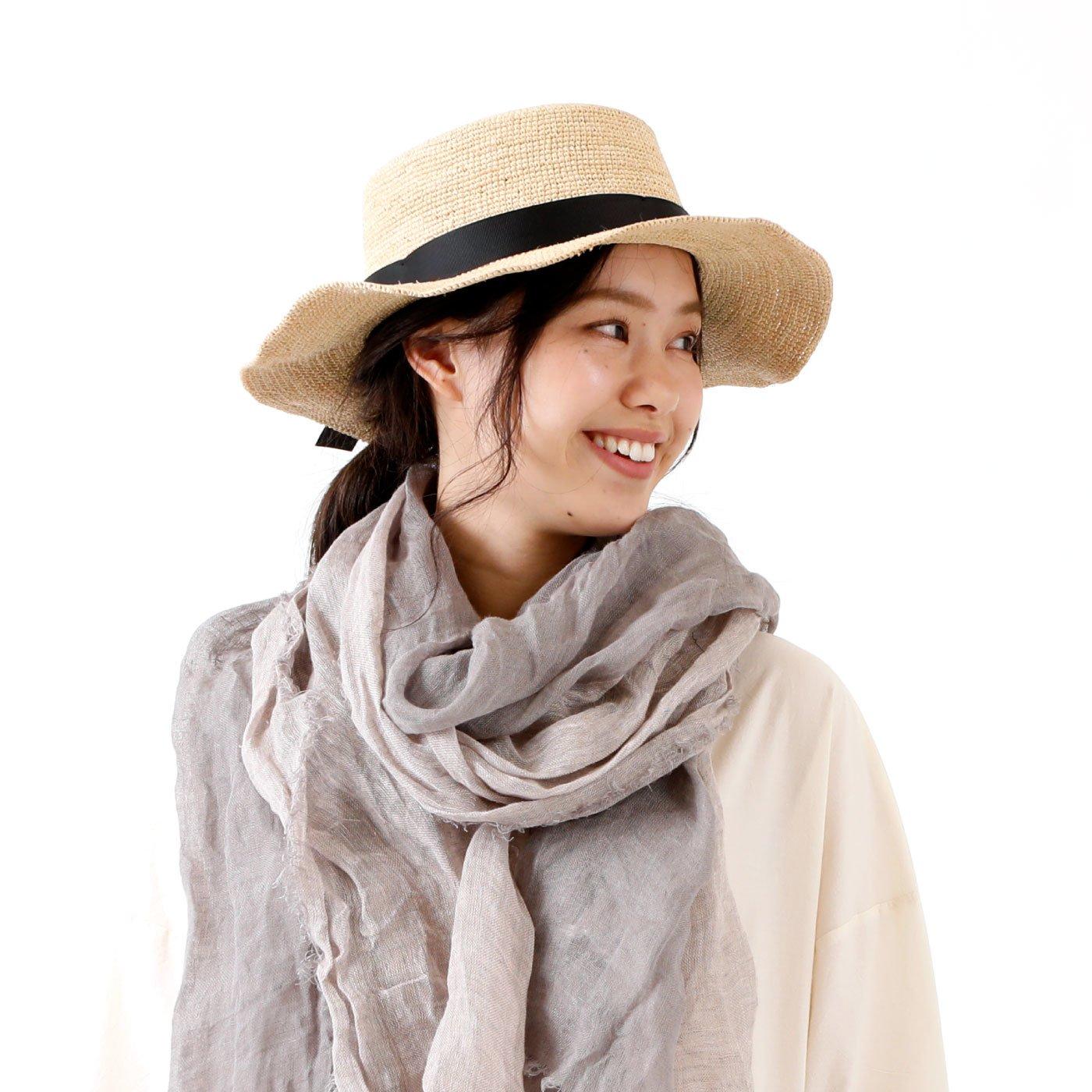 大人ナチュラル 手編みラフィアカンカン帽