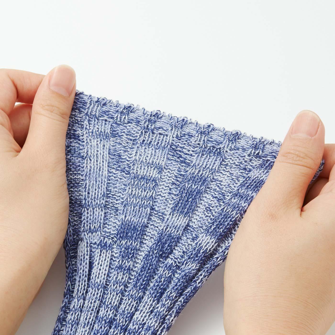 二の腕部分は編み方を変えて、ゆったりフィットするくい込みにくい仕様。