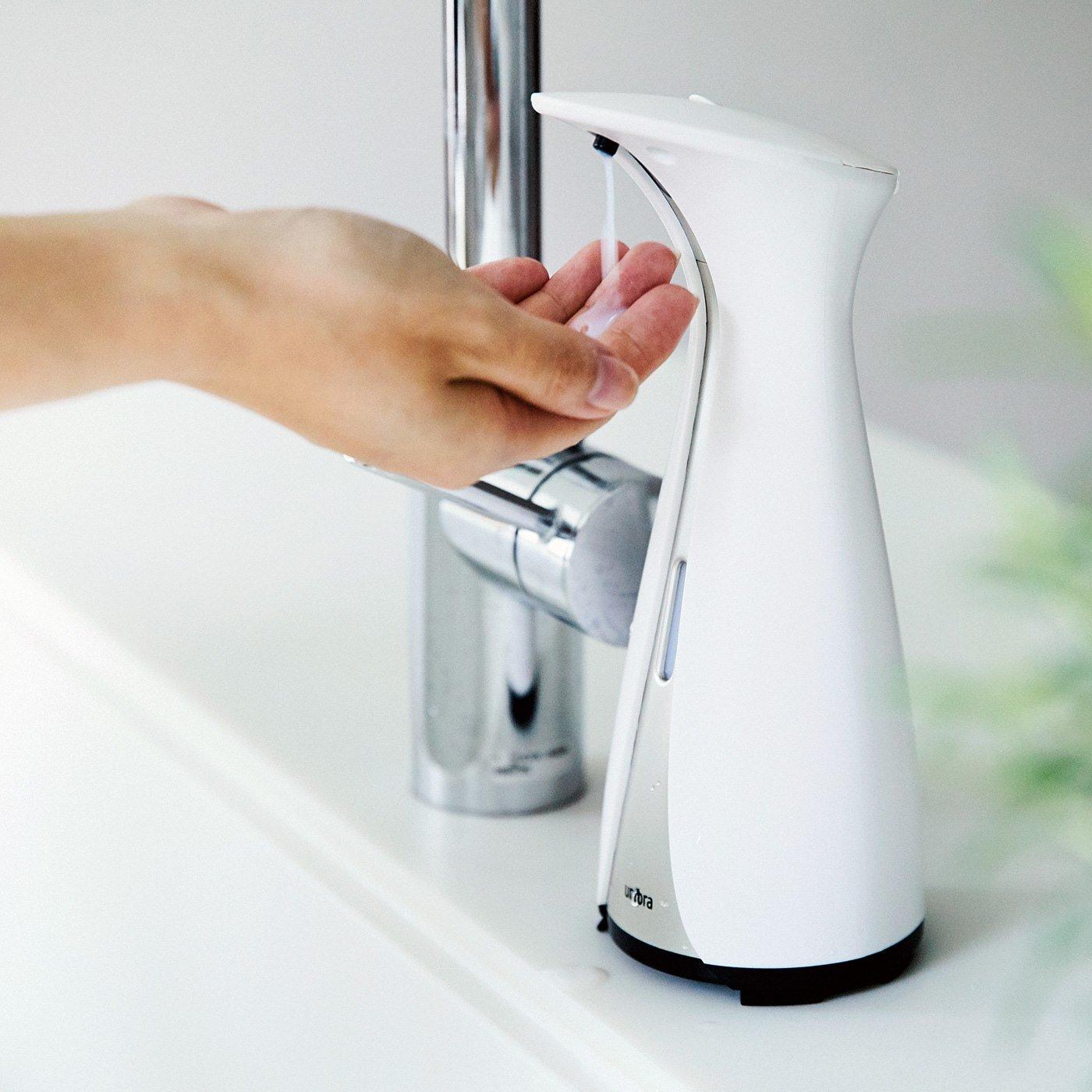 オートセンサーでふれずに手洗い! ソープディスペンサー