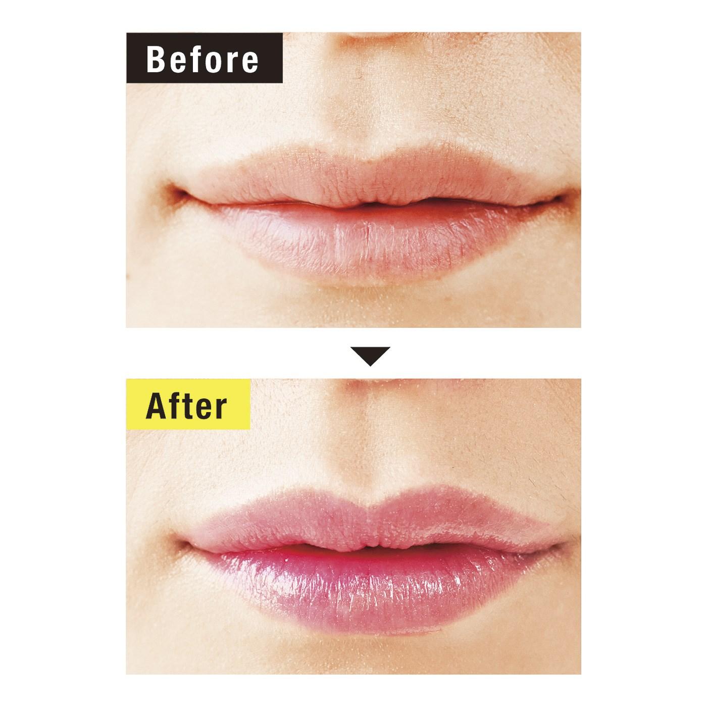 無色のリップが、唇に塗るとキレイに発色!