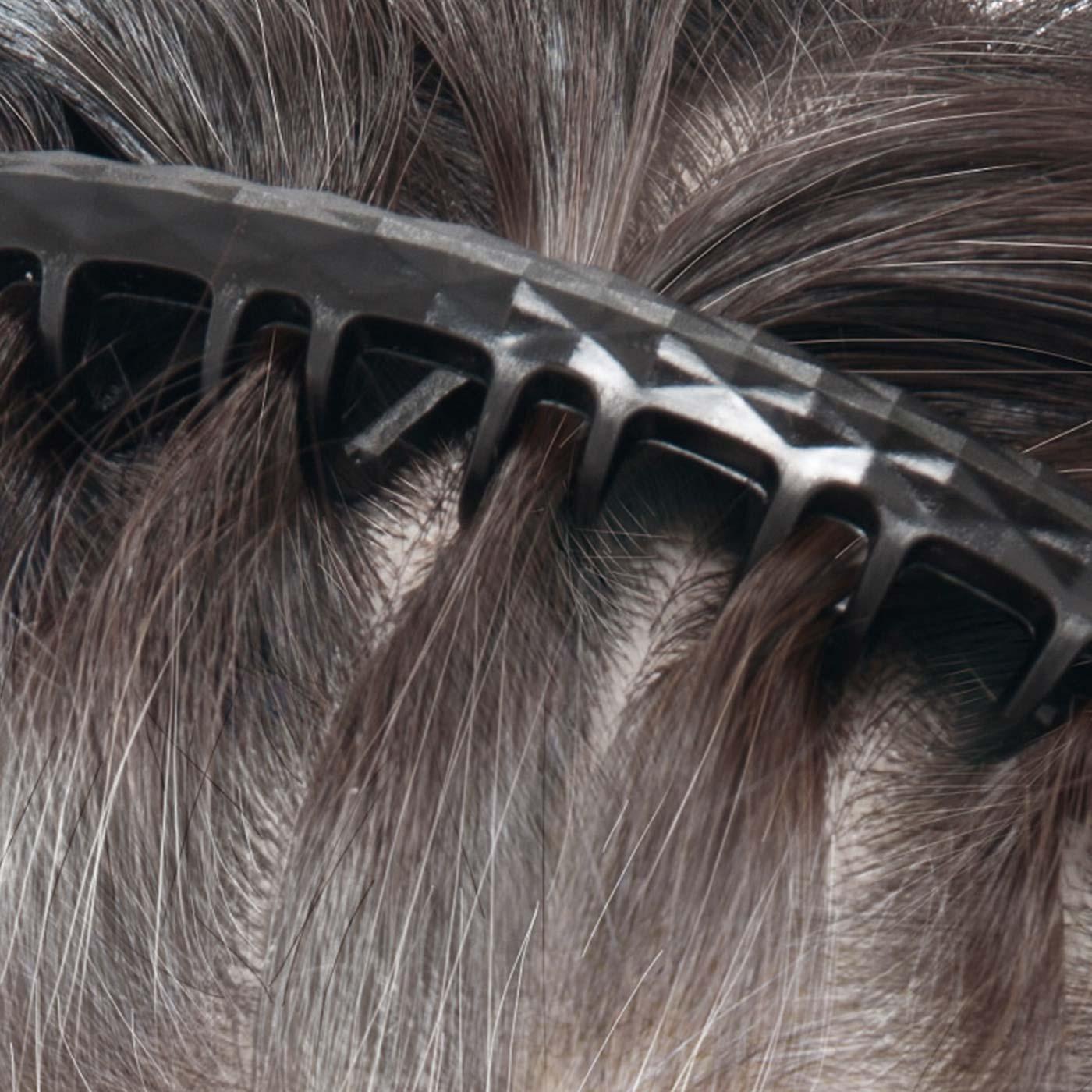 カチューシャコームは、頭部にしっかりフィットするやわらか素材。サッとはめて、染めやすい分量の毛束に仕分けられます。