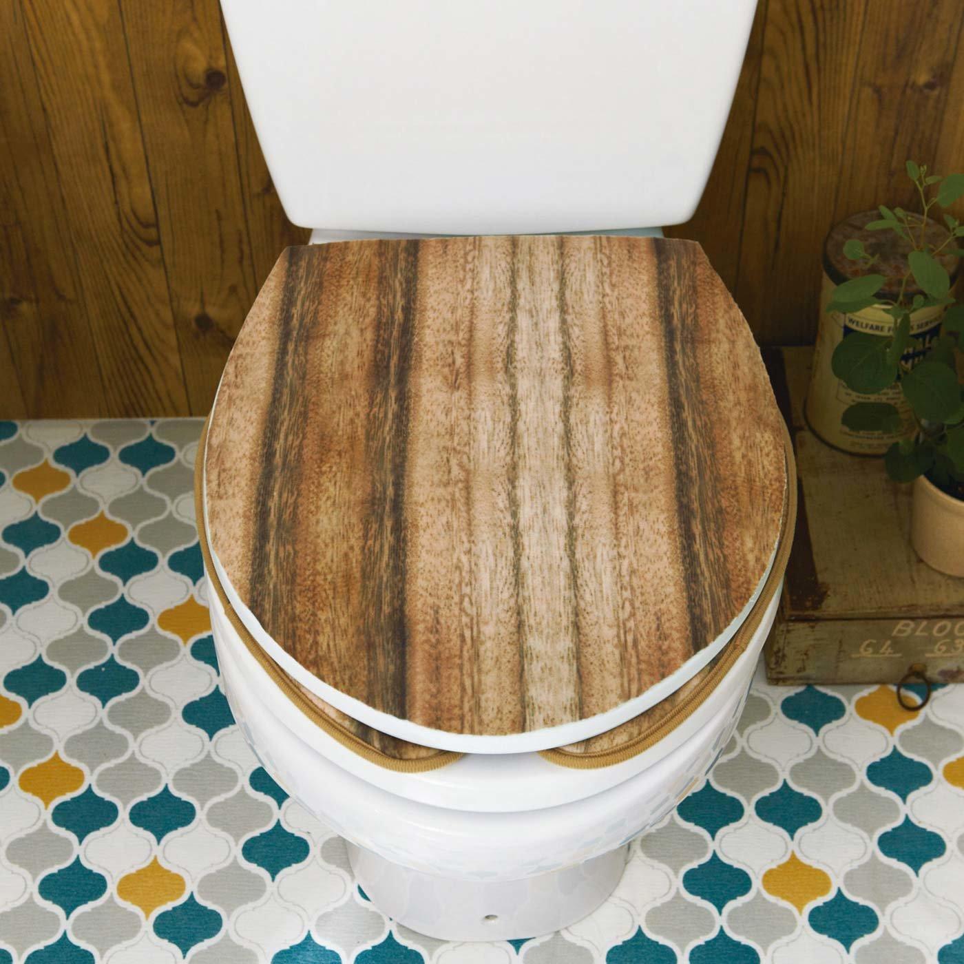 貼るだけで簡単リメイク カットできるトイレふたカバー〈木目柄〉の会