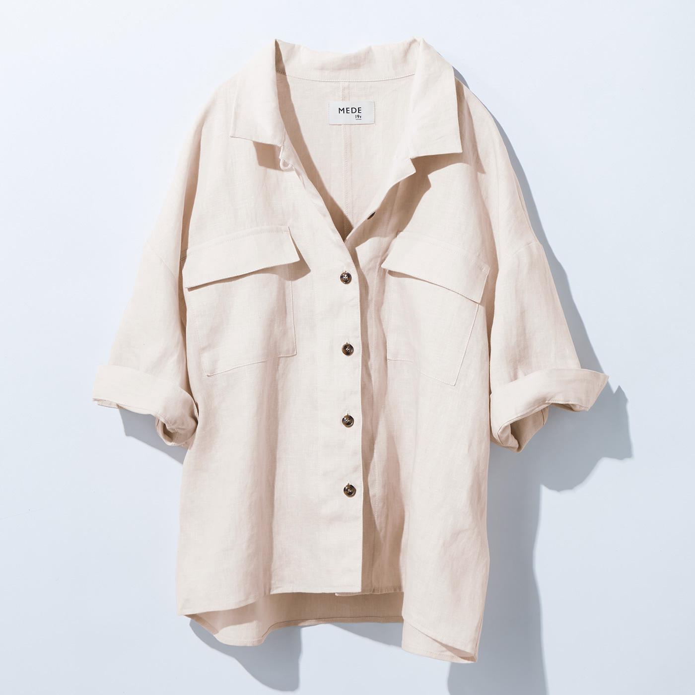 リネンシャツジャケット〈エクリュ〉MD19