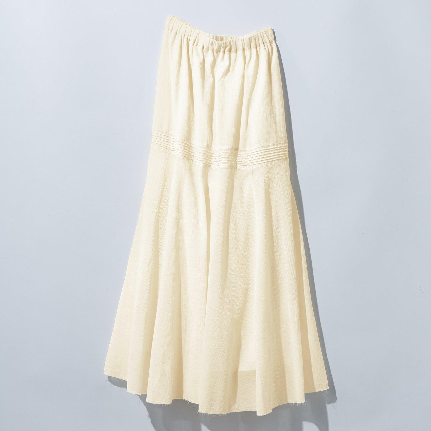 MEDE19F 甘織りコットンロングスカート〈アイボリー〉