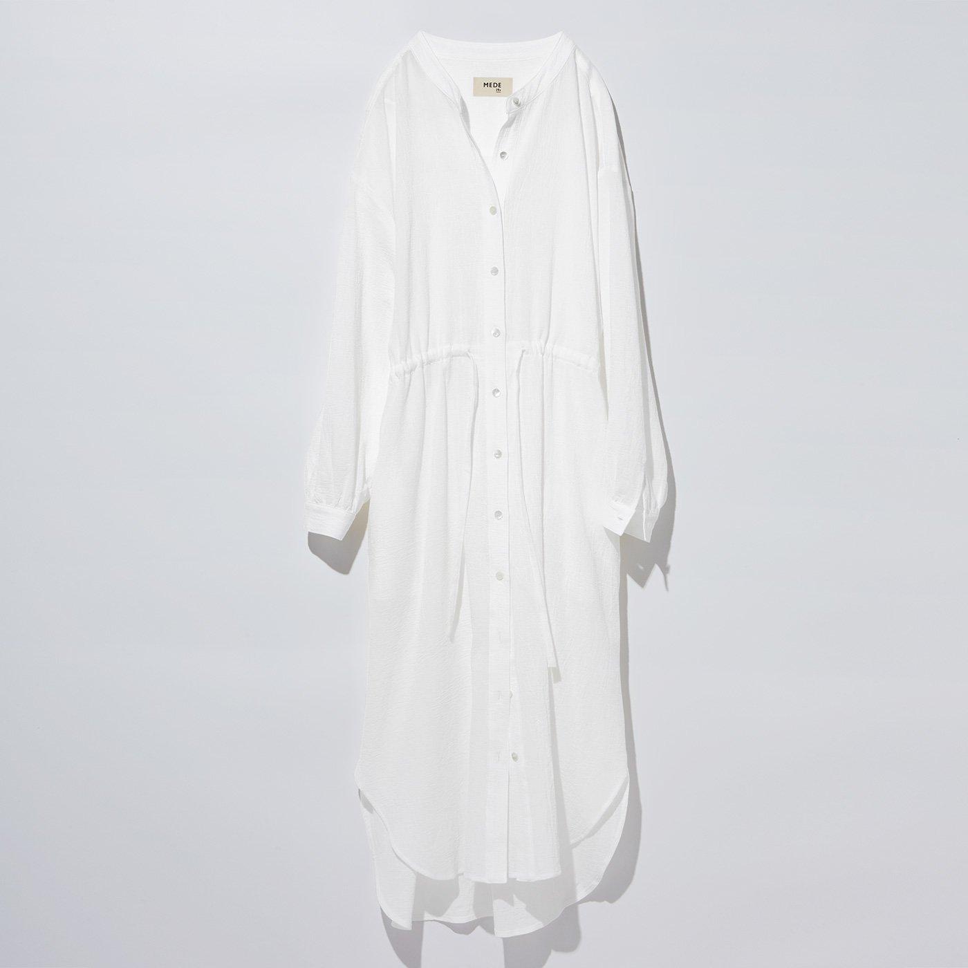 MEDE19F コットンガーゼ羽織りワンピース〈ホワイト〉