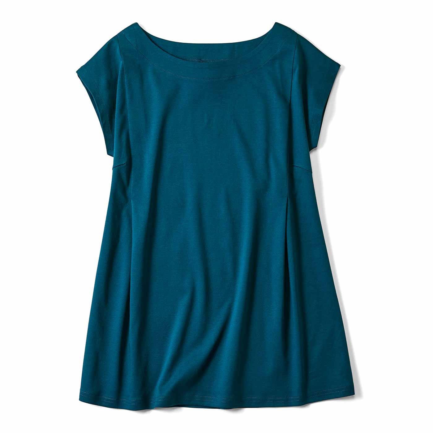 リブ イン コンフォート 抗菌防臭加工がうれしい シルケットコットンの着映え色Tシャツ〈ターコイズグリーン〉
