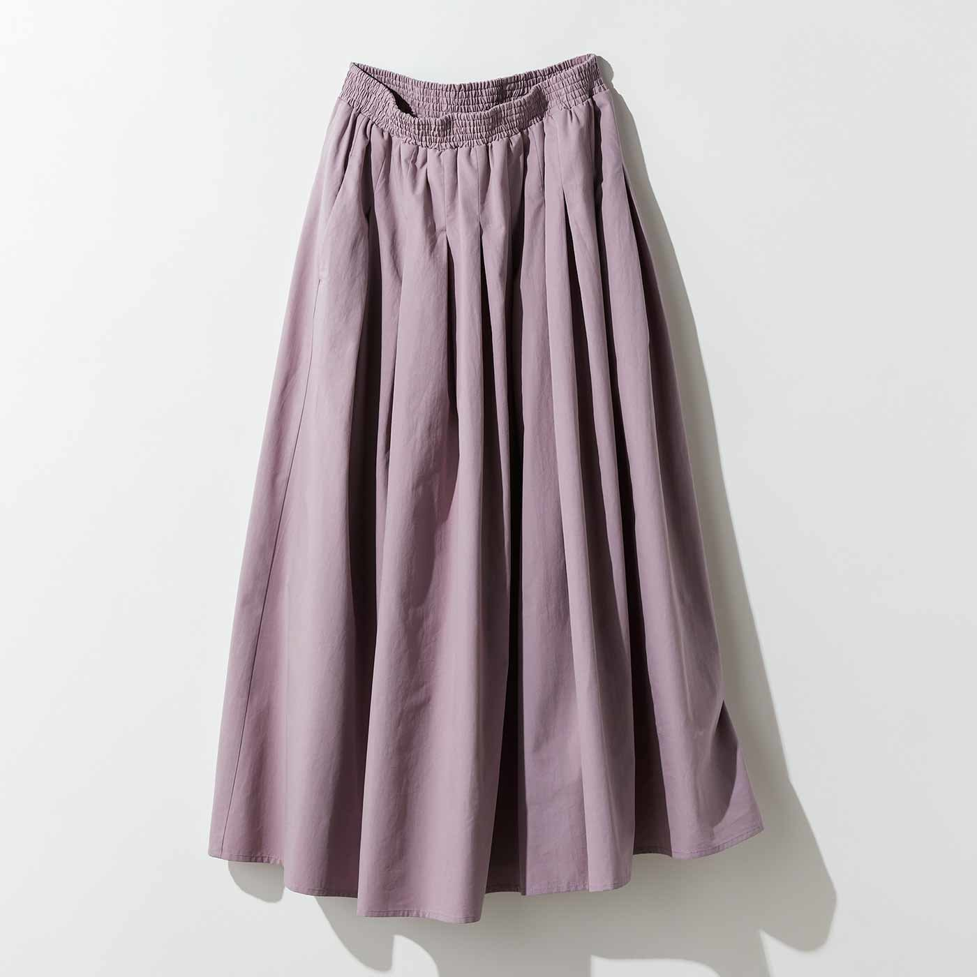 MEDE19F タックギャザーロングスカート〈ライラックピンク〉